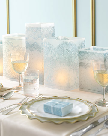 Centros de mesa con velas imitación encaje